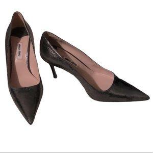 Miu Miu crackled leather pewter heels Size 36.5